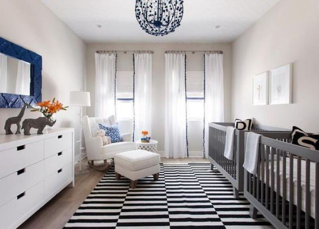 Monochrome rug in a kid's room