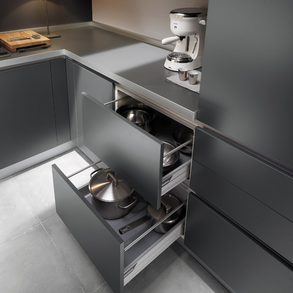 Stylish grey kitchen inspiration by ernestomeda digsdigs for Kitchen cabinets and drawers