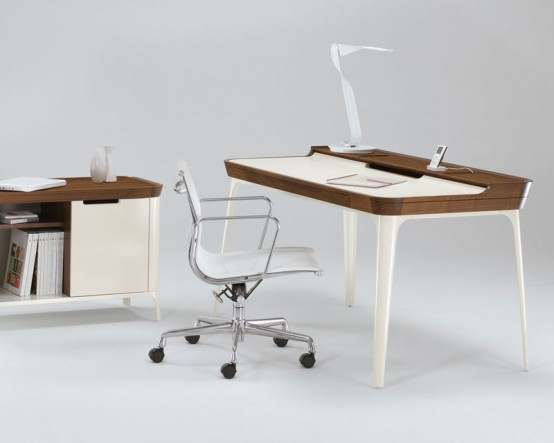 stylish work desk for modern home office from kaijustudios - digsdigs