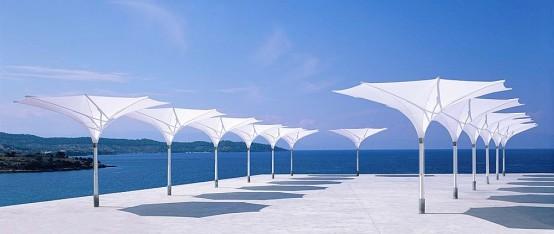 Sun Umbrella With LED Lights Tulip By MDT Tex