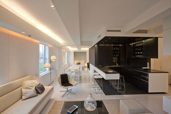 Two Combined One-Bedroom Apartments With Built-In Furniture and Mood Lighting