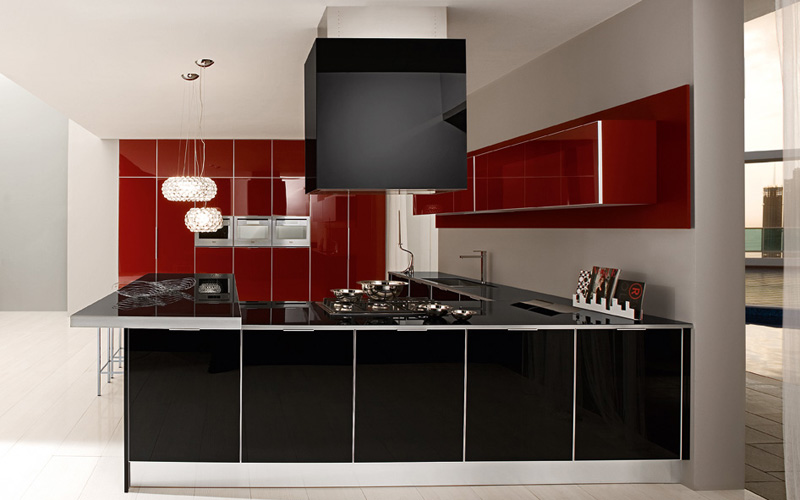 Ultra modern glossy kitchen judy by futura cucine digsdigs - Black red and white kitchen designs ...