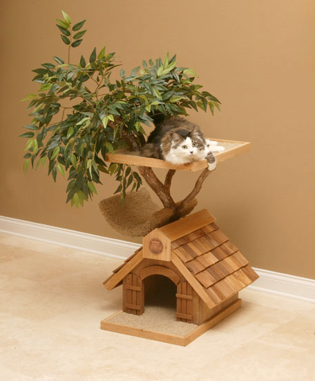 Unique cat tree houses with real trees from pet tree house for Cool cat perches