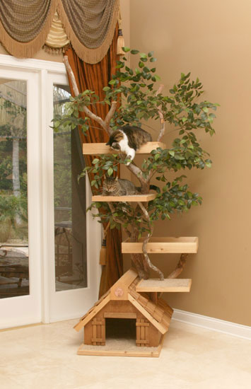 unique cat tree houses with real trees from pet tree house digsdigs. Black Bedroom Furniture Sets. Home Design Ideas