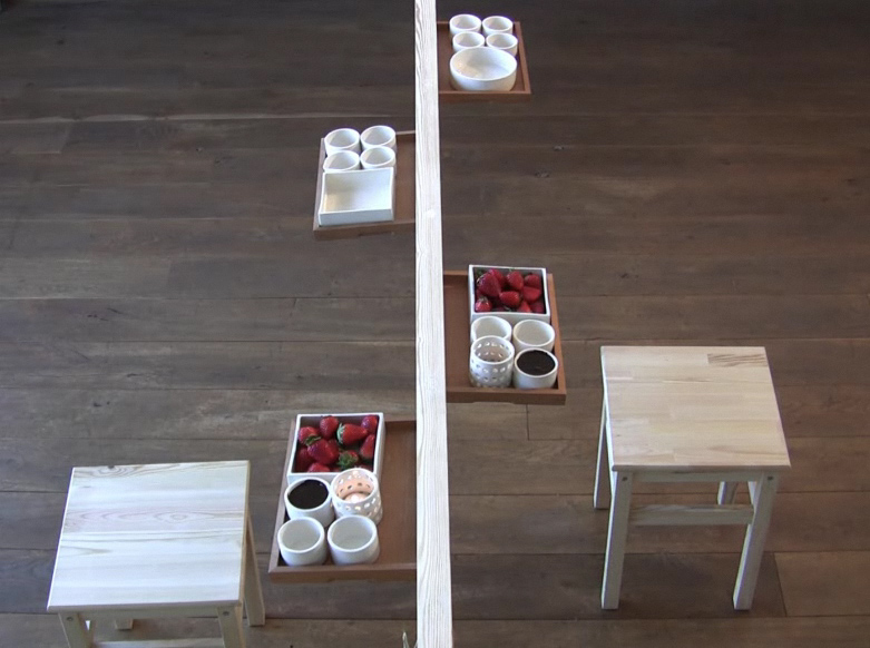 Very creative dining table for small room a very slim table by nilly landao digsdigs for Creative dining room table ideas