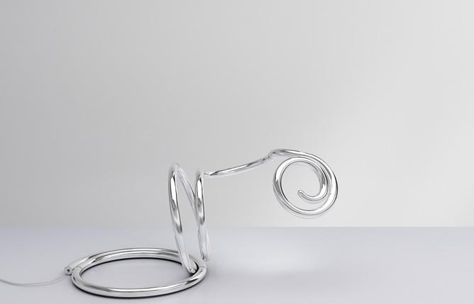 Very Flexible Modern Table Lamp PizzaKobra By Ron Arad