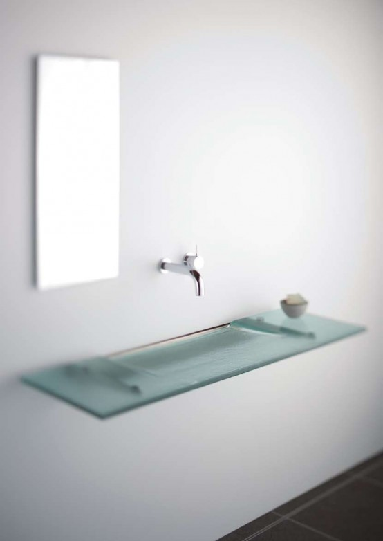 Very Slim Glass Bathroom Sink Linea Washplane® Seafoam Glass By Omvivo
