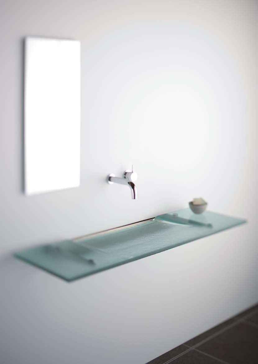 Very Slim Glass Bathroom Sink – Linea Washplane® Seafoam Glass By ...