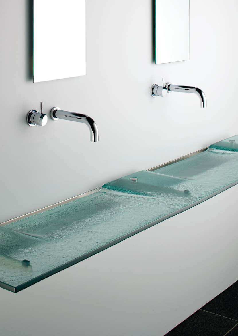 Very slim glass bathroom sink linea washplane seafoam for Modern glass bathroom