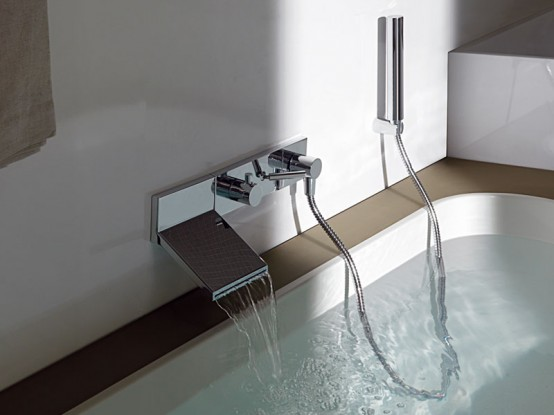 Wall Mount Waterfall Faucet For Stylish Bathroom By Zuchetti