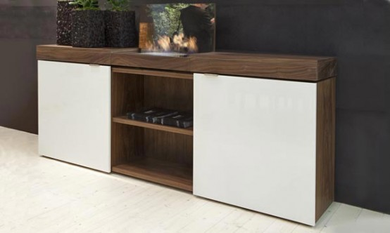 Walnut Sideboard with Integrated Bioethanol Fireplace – Grace by Shulte Design