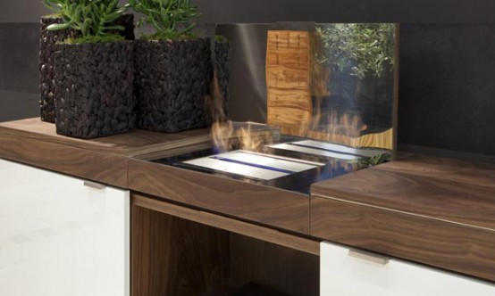 Walnut Sideboard With Integrated Bioethanol Fireplace Grace By Shulte Design