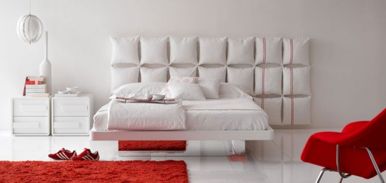White Bed With Unusual And Creative Headboard Pixel By Olivieri