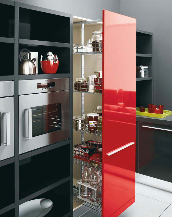 White black and red kitchen design gio by cesar digsdigs for Black and white kitchen cabinet designs