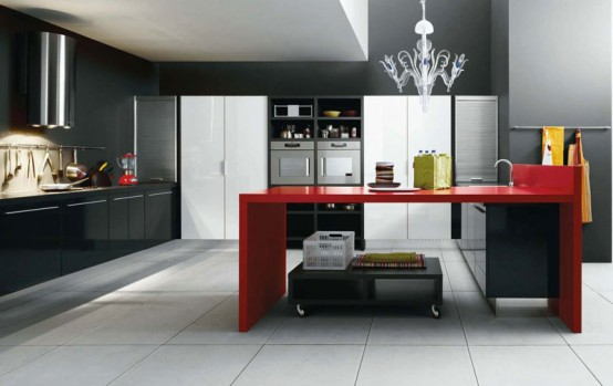 White Black And Red Kitchen Design Gio By Cesar