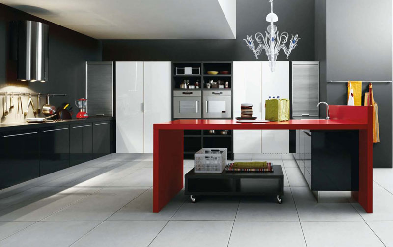 black and red kitchen home decorating ideas ForRed White And Black Kitchen Designs