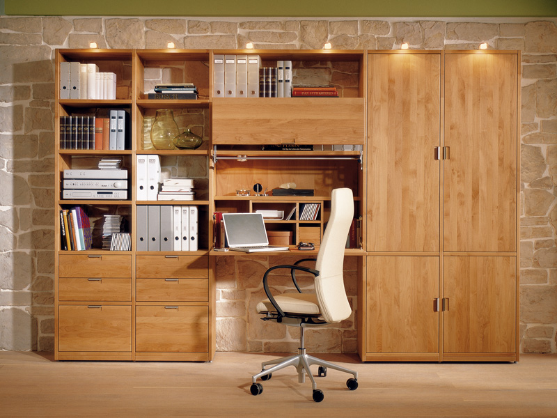 Wood Bookcase With Integrated Folding Desk For Kids Study Room By Huelsta