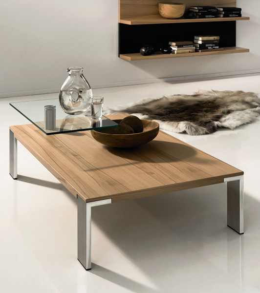 Wood Coffee Table With Swing-out Glass Top - CT 100 by Huelsta