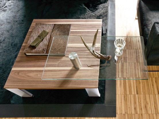 Wood Coffee Table With Swing-out Glass Top – CT 100 by Huelsta