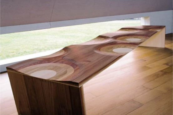 Wood Dining Room Furniture With Unique Finish By Toyo Ito