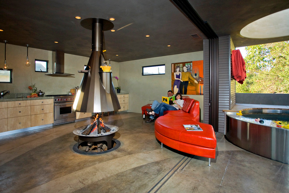 a fireplace on a kitchen is definitely an unusual way to design it