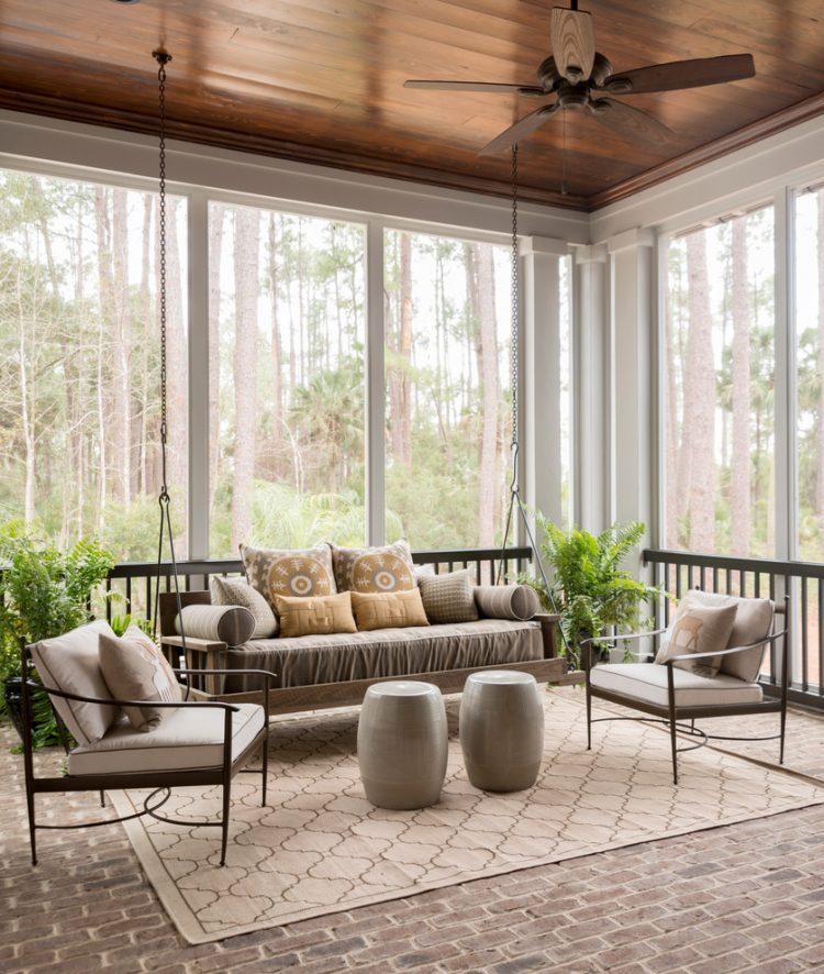 a handing daybed is a perfect furniture choice for a sunroom - Sunroom Design Ideas
