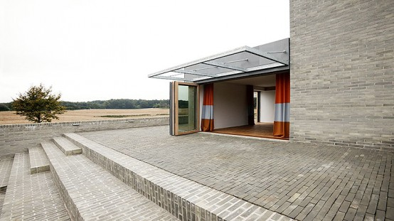 A Single Family House Overlooking Fields And Fyn Beech Forest