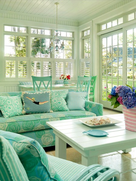 a very functional sunroom design with lovely upholstery color two tables could solve lots of - Sunroom Ideas Designs