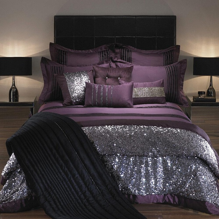 Adding glam touches 31 sequin home decor ideas digsdigs for Purple and silver bedroom designs