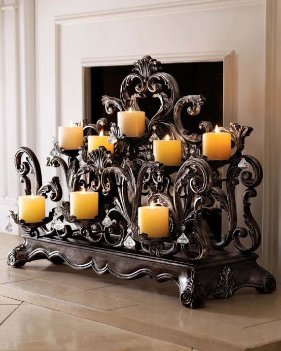 Candles For Fireplace Decor 30 adorable fireplace candle displays for any interior - digsdigs