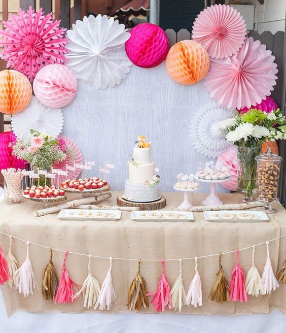 38 adorable girl baby shower decor ideas you ll like for Baby shawer decoration