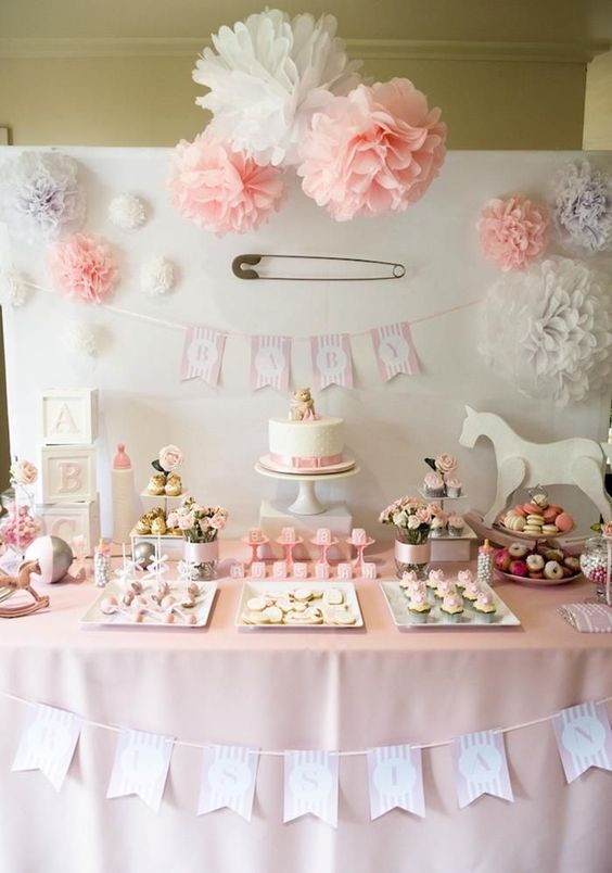 38 adorable girl baby shower decor ideas you ll like for Baby shower wall decoration ideas