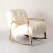 a white faux fur chair with wooden legs is a stylish idea for a rustic space or just a cozy piece to add a farmhouse touch