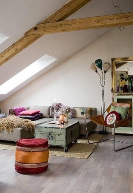 wooden beams and reclaimed furniture will make your living room feel more rustic