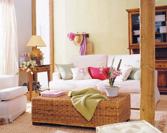 vertical wooden beams, some wooden furniture and a basket chest will make your space feel rustic