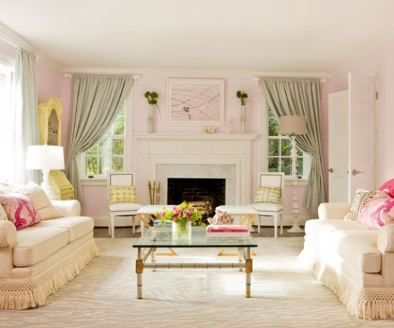 66 airy and elegant feminine living rooms digsdigs for Pink and green living room ideas