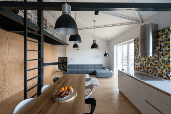 Airy And Spacious Modern Loft With A Second Floor