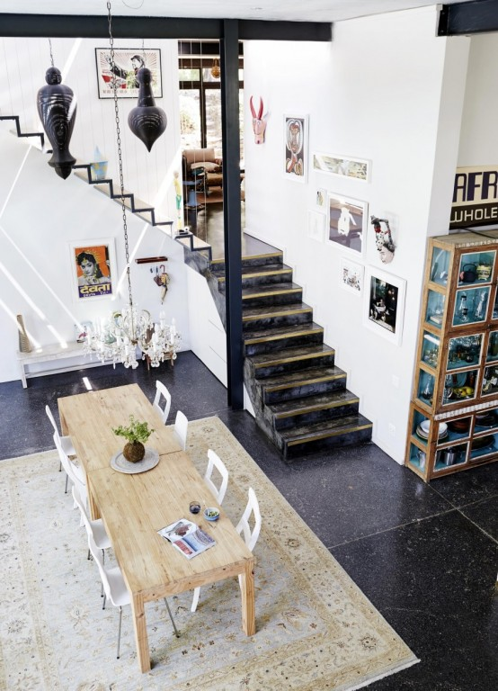 Airy Eclectic Loft With A Collection Of Art And Furniture