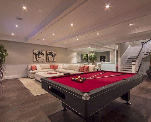 airy spacious basement game room