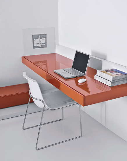 Minimalist working desks from pianca digsdigs - Orange floating desk ...