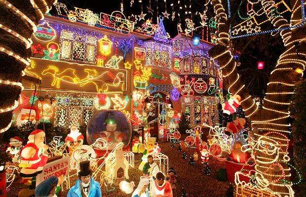 he starts planning lights in july and has spent 3000 gbp this 2008 year alone on the lights that are now estimated to be