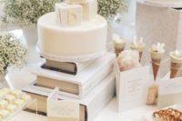 all-white dessert table for a gender neutral baby shower