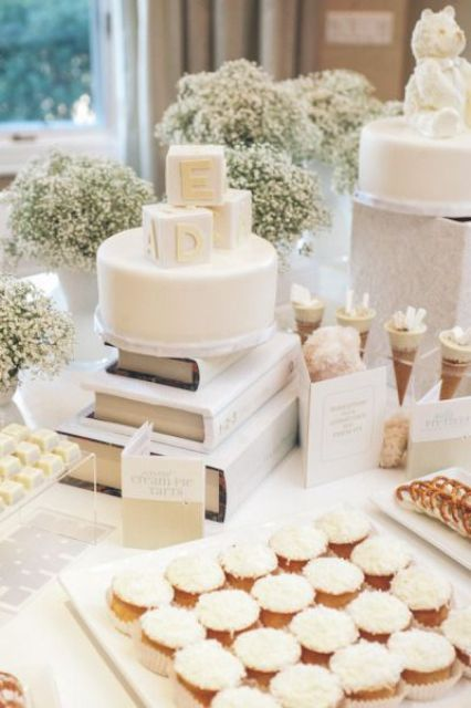 picture of all white dessert table for a gender neutral baby shower