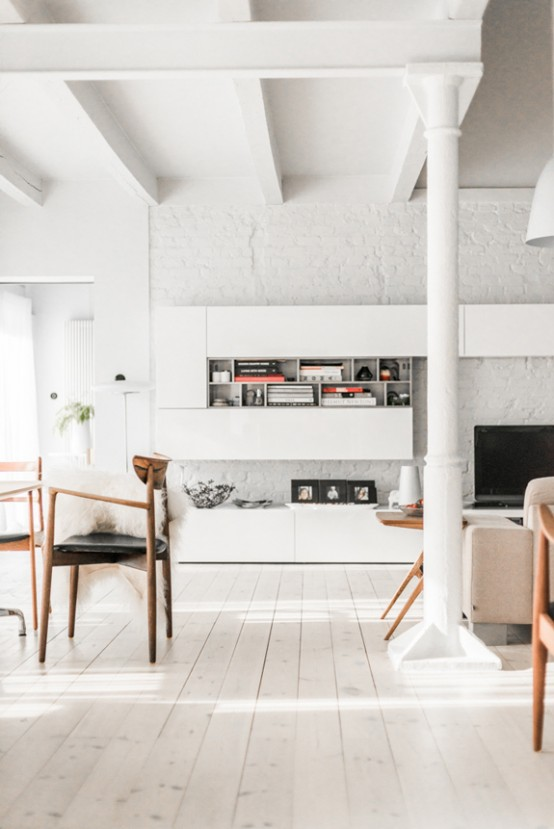 All-White Mid-Century Modern Home With A Scandi Feel