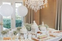all-white sweets table for a gender neutral baby shower