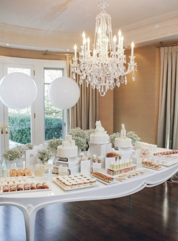all white sweets table for a gender neutral baby shower