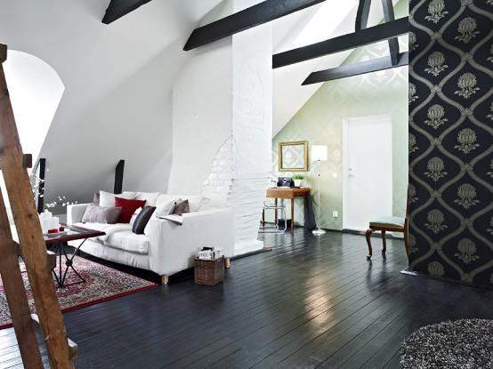 Almost Black And White Apartment Interior