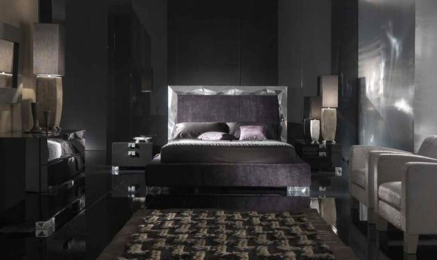 Alux black bedroom furniture from elite digsdigs for Black bed bedroom ideas