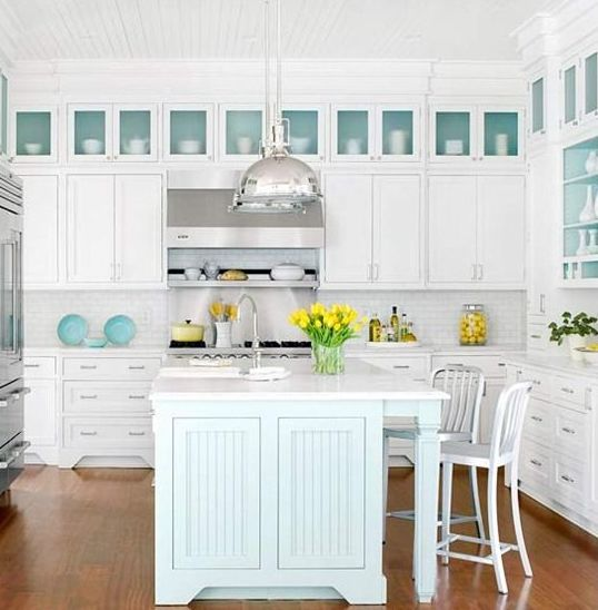 32 amazing beach inspired kitchen designs digsdigs for Coastal contemporary design