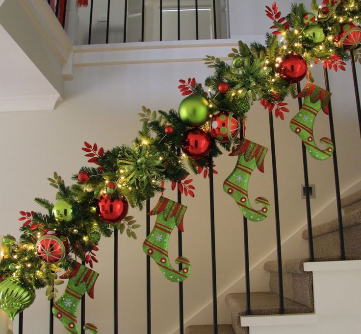 Christmas Stairs Decorations With Garland Lights Ideas And